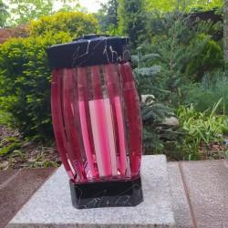 ZNICZ LAMPION GLAMUR -1  /  CZERWONY / 1 SZTUKA