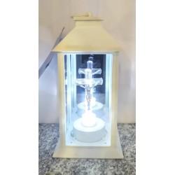 Kapliczka latarnia elektroniczna z krzyżem / led / biała...