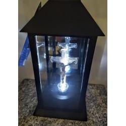 Kapliczka latarnia elektroniczna z krzyżem / led / czarna...
