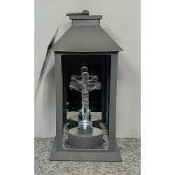 Kapliczka latarnia elektroniczna z krzyżem / led / SZARA...